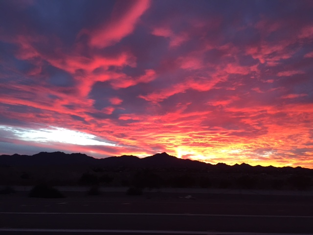 Sunset while heading home from the Ritz