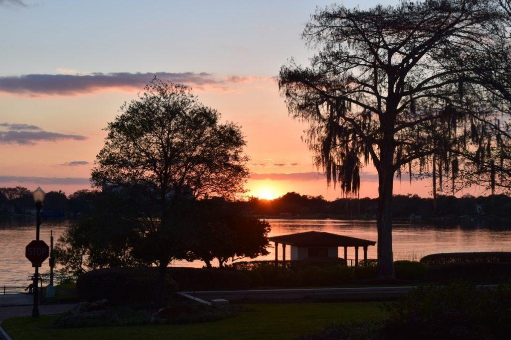 Sun setting over Lake Sue.