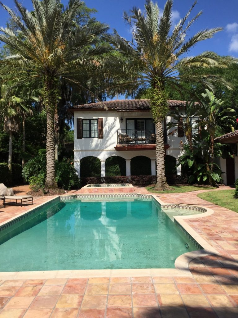 The lovely pool and garden of a Winter Park client.