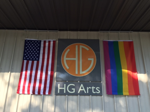 New flags hanging outside my framer's building.