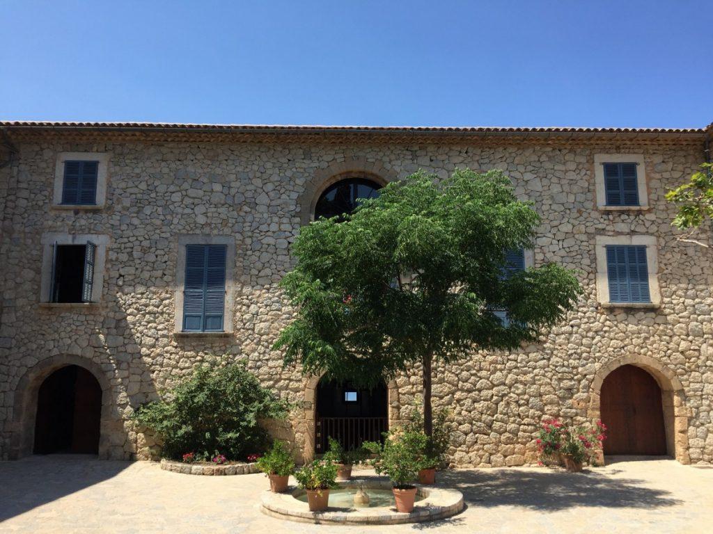 Stone facade of a private home in Mallorca.