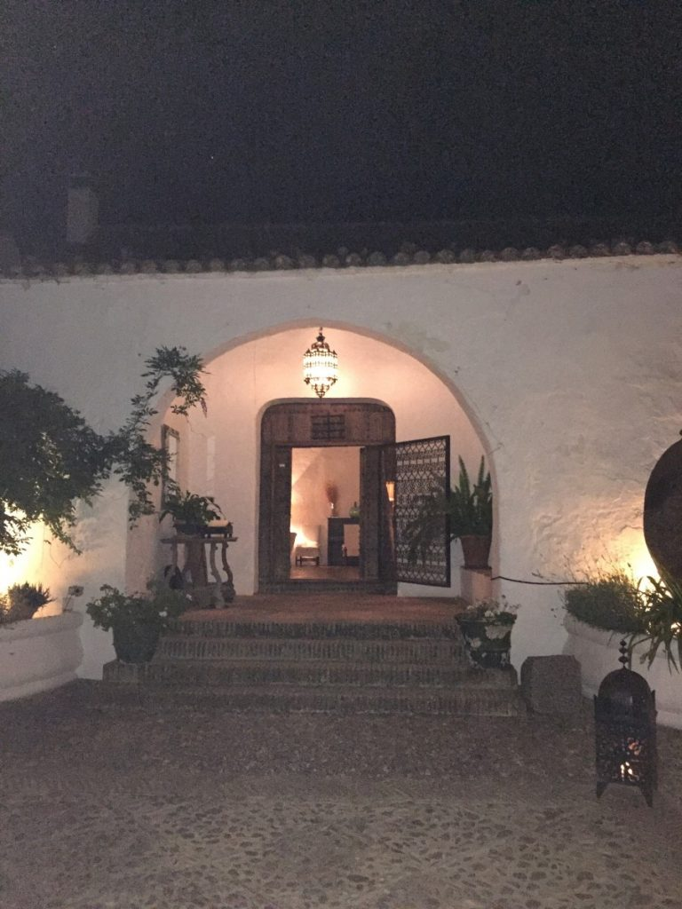 Nighttime view of front entry.