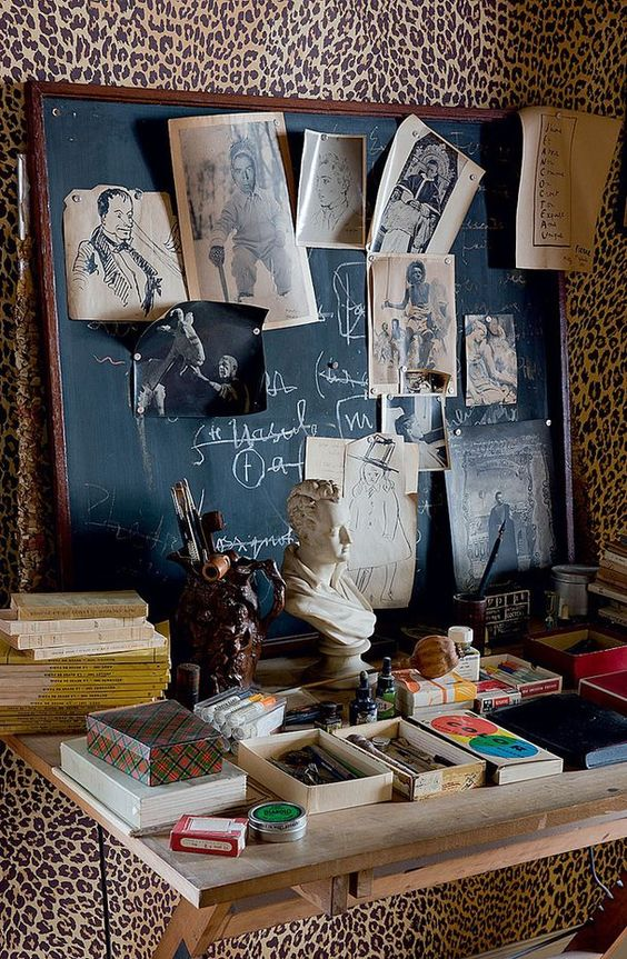 One of the chicest rooms ever is the leopard study of Jean Cocteau. (Photo: unknown)
