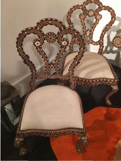 My Syrian flower chairs in need of some seat love.