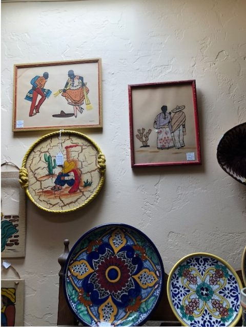 The top two pieces are early Mexican fabric paintings, regrettably not purchased by me.