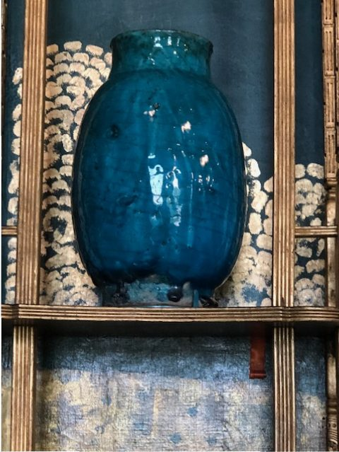 We both loved this turquoise vase with drip marks. Its beautiful color is not done justice in this photo.