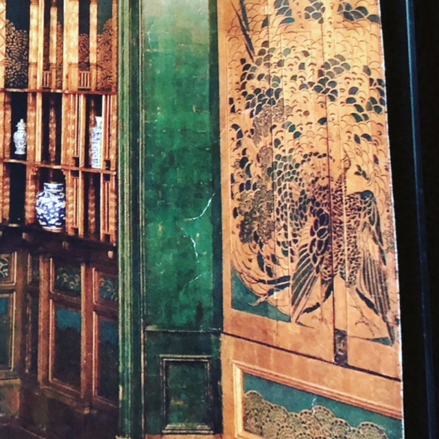 The backside of the shutters depicting more peacocks as seen in the museum catalogue.