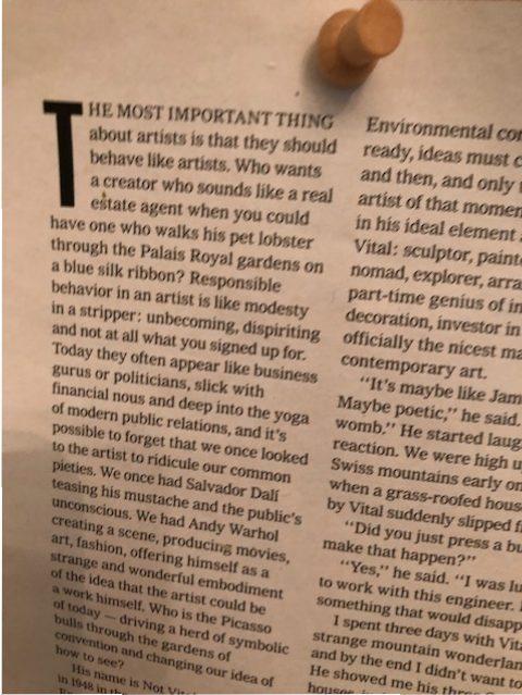 A cute article on Laura's studio bulletin board about artistic behavior.