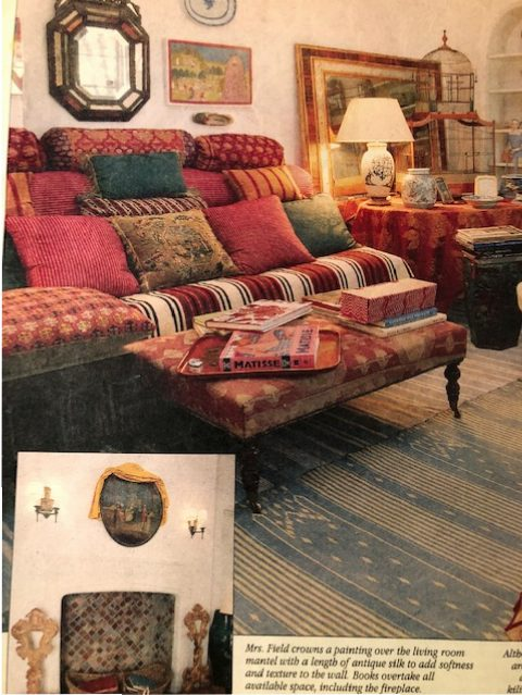 Beverly Field's living room was an homage to the silk road with exotic textiles mostly in shades of red. (Photo: Dallas Life Magazine)