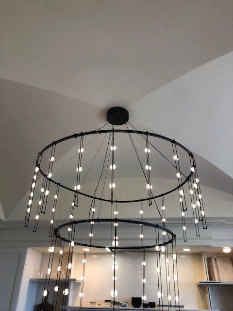 Chandelier by Sonneman A Way of Light in the Vasi Ypsilantis designed kitchen.