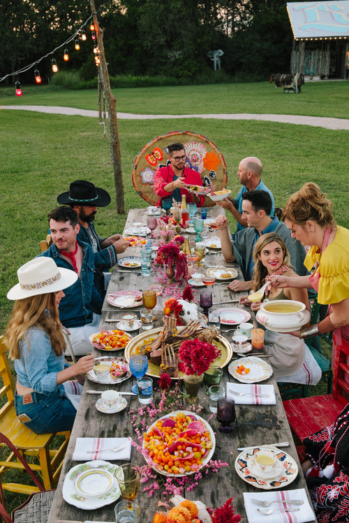 Feast in the Fields is another event at Rancho Pillow. Long communal tables are set up outside for dining under the stars. A different guest chef comes in for each RT to bring their specialty. (Photo: Rancho Pillow)