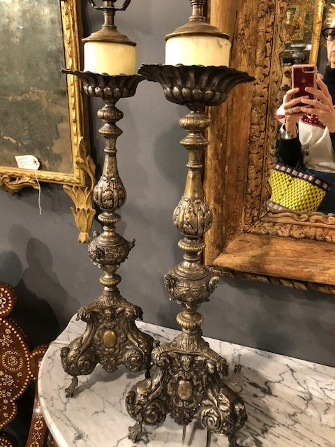 Bought these Spanish candlestick lamps for a client.