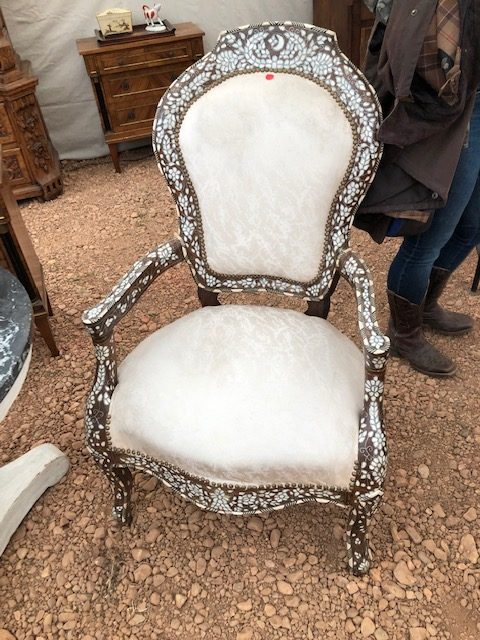 Mad for these French Moroccan chairs that my client bought. Love the crescent moon at the top.