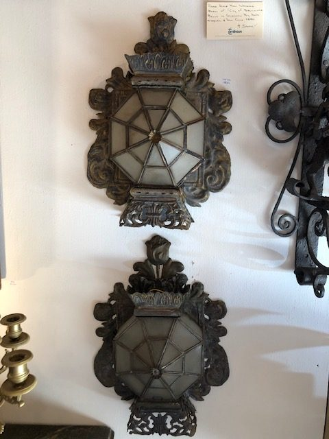 19th c Mexican sconces seen at the Compound. If only I had a spot for them.