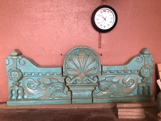 This turquoise frieze was made for a project in South Florida.