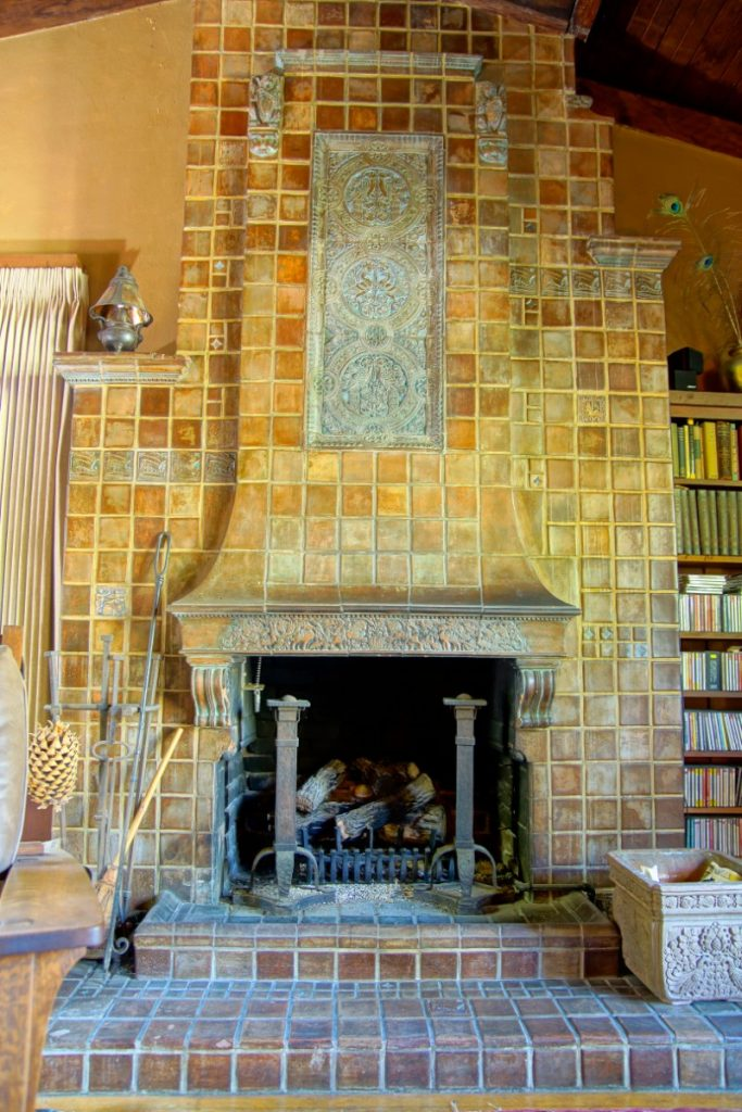 Ernest Batchelder fireplace in his personal home in Pasadena.