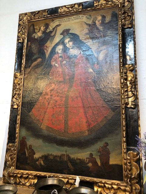 The pièce de résistance at Provenance is this 18th century Spanish painting of the Virgin Mary and child.