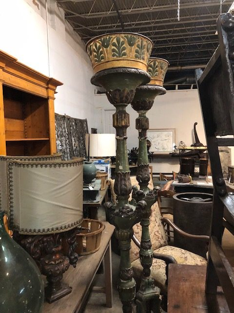A pair of grand torcheres from Venice at Provenance Antiques.