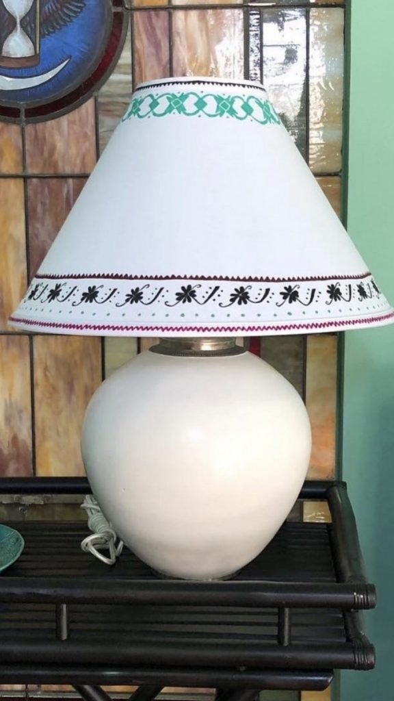 A lampshade I painted for a client inspired by Mexican textiles.