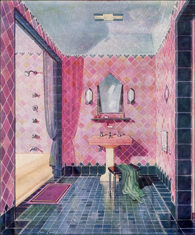 Vintage bathroom from a 1929 Kohler advertisement.