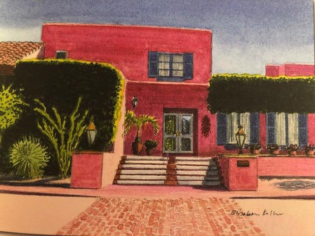 The front facade. Watercolor by Elizabeth Keller.