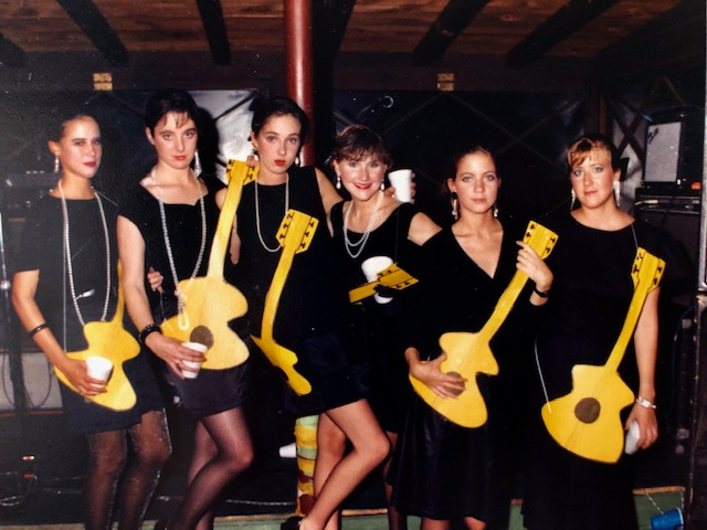 I visited Elizabeth at Vanderbilt one time. Here we are at a party paying homage to the Robert Palmer girls.